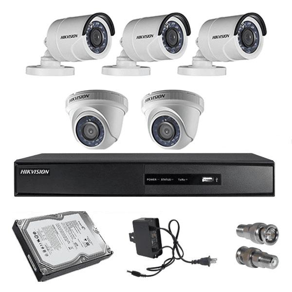 Hikvision 5nos 2 MP Resolution HD CCTV Camera